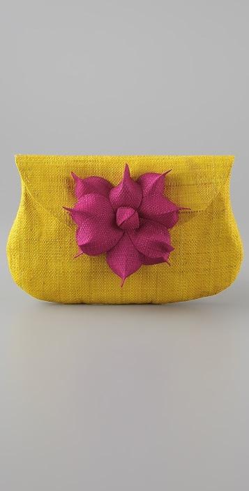 Mar Y Sol Gigi Raffia Flower Clutch