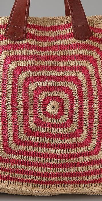 Mar Y Sol Panama Striped Raffia Tote