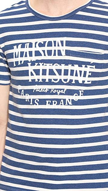 Maison Kitsune R Neck Pocket T-Shirt
