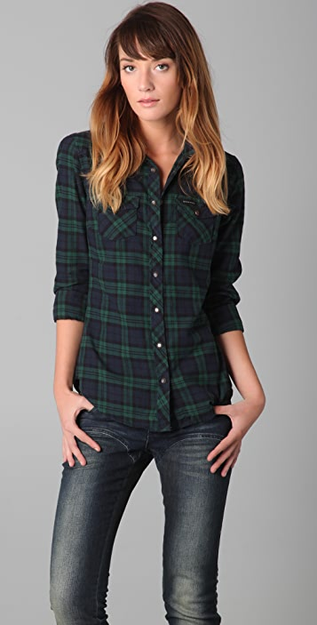 Scotch & Soda/Maison Scotch Flannel Shirt with Elbow Patches
