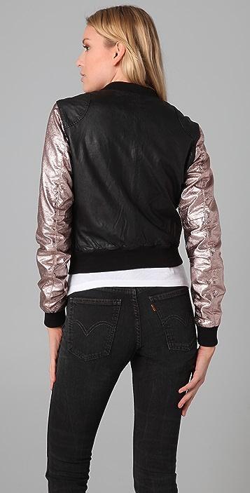 Scotch & Soda/Maison Scotch Metallic Sleeve Leather Jacket