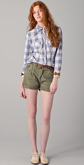 Scotch & Soda/Maison Scotch Checkered Shirt with Leather Bows