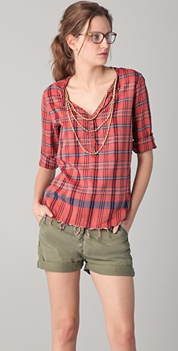 Scotch & Soda/Maison Scotch Plaid Top with Necklace