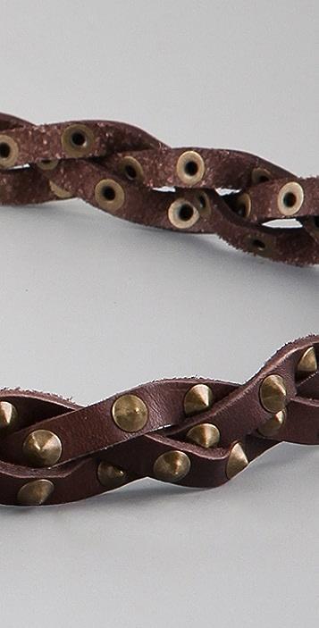 Scotch & Soda/Maison Scotch Braided Studs Leather Belt