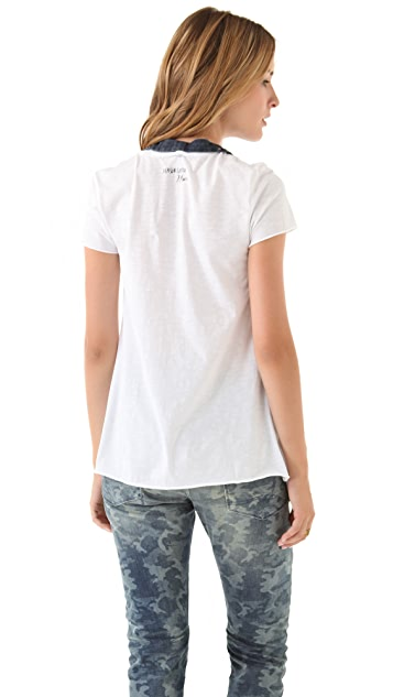 Scotch & Soda/Maison Scotch Short Sleeve Tee with Detachable Chambray Collar