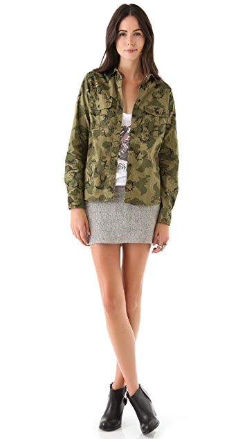 Scotch & Soda/Maison Scotch Army Shirt with Sequin Collar