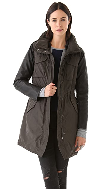 Scotch & Soda/Maison Scotch Nylon Parka with Faux Leather Sleeves