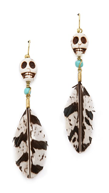 Scotch & Soda/Maison Scotch Skull Feather Earrings