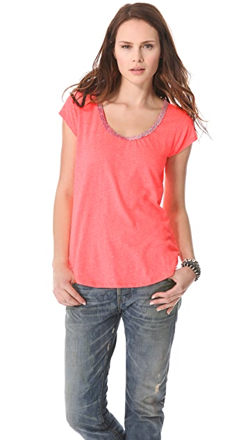 Scotch & Soda/Maison Scotch Linen Mix Tee with Special Neck Trim