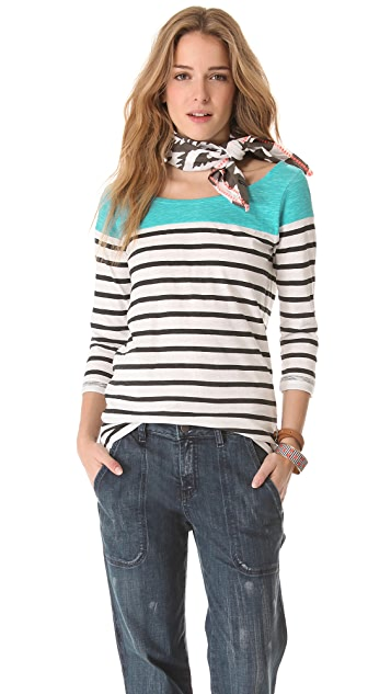 Scotch & Soda/Maison Scotch Breton Stripe Top with Scarf