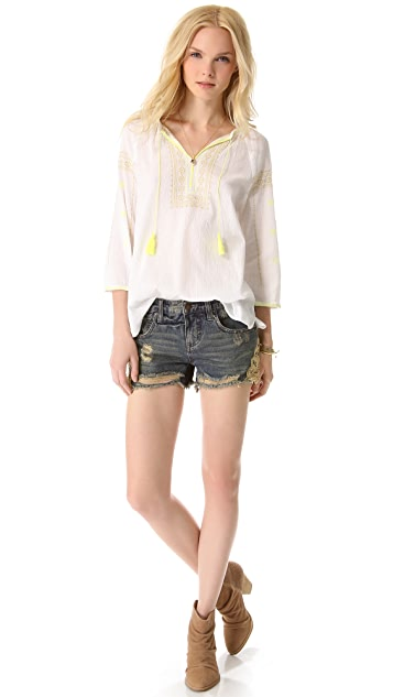 Scotch & Soda/Maison Scotch Bohemian Top with Fluorescent Embroidery