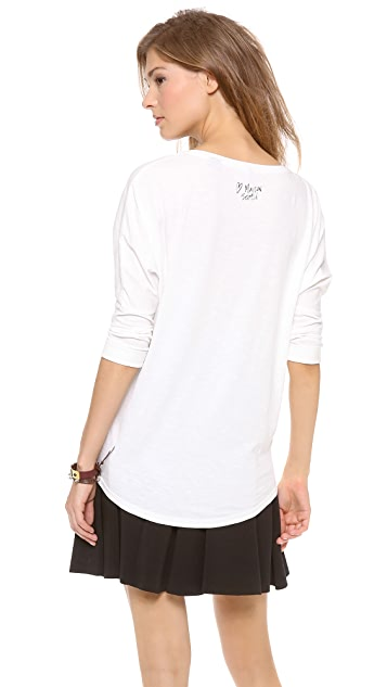 Scotch & Soda/Maison Scotch 3/4 Sleeve Applique Tee