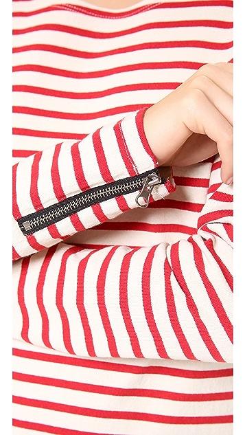 Scotch & Soda/Maison Scotch Stripe Top with Biker Zip Detail