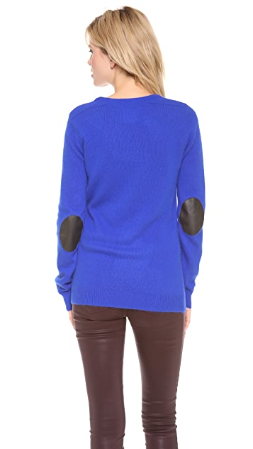 Scotch & Soda/Maison Scotch Round Neck Sweater with Elbow Patches