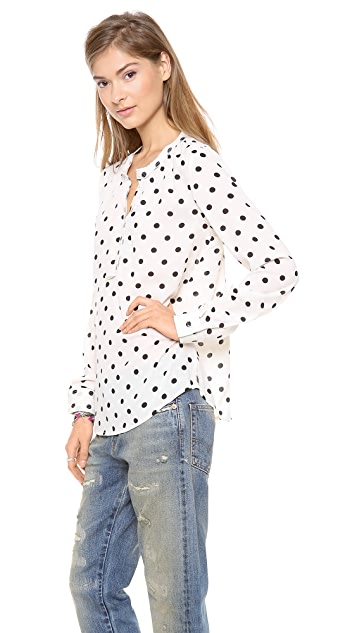 Scotch & Soda/Maison Scotch Chic Long Sleeve Blouse with Star Brooch