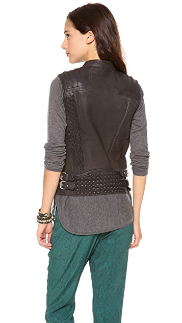 Scotch & Soda/Maison Scotch Leather Biker Vest