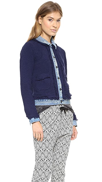 Scotch & Soda/Maison Scotch Knitted Jacket with Denim Trucker Details