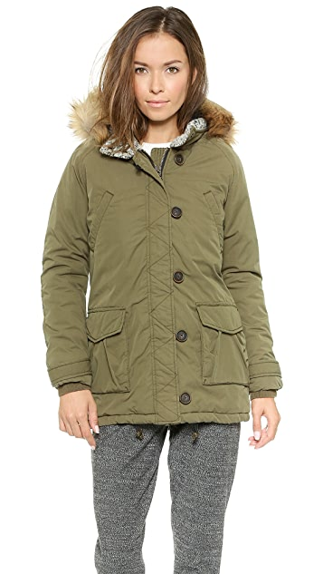Scotch & Soda/Maison Scotch Parka with Faux Fur Hood