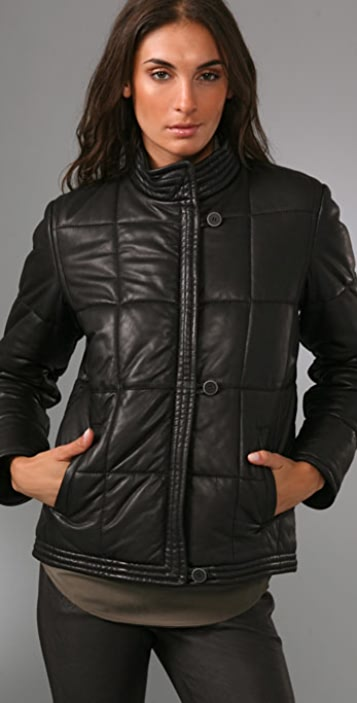 MM6 Leather Puffy Jacket