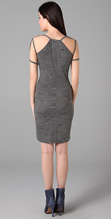 MM6 Striped Dress with Shoulder Detail