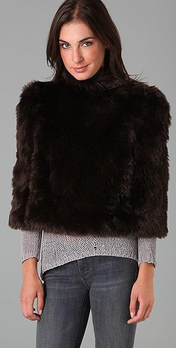 MM6 Faux Fur Cropped Poncho