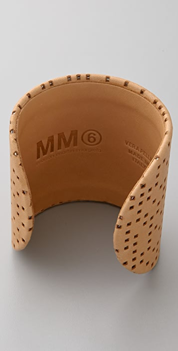 MM6 Leather and Brass Cuff