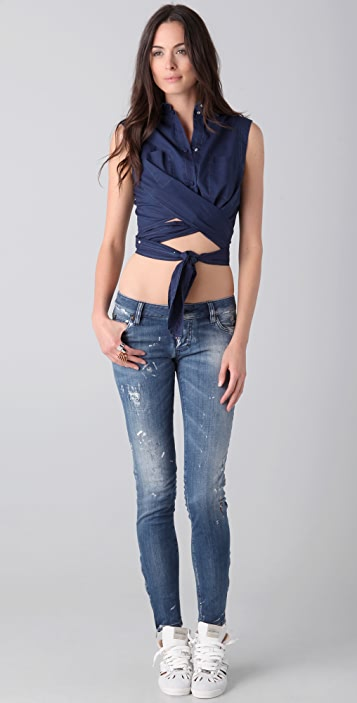 MM6 Convertible Sleeveless Button Down Top