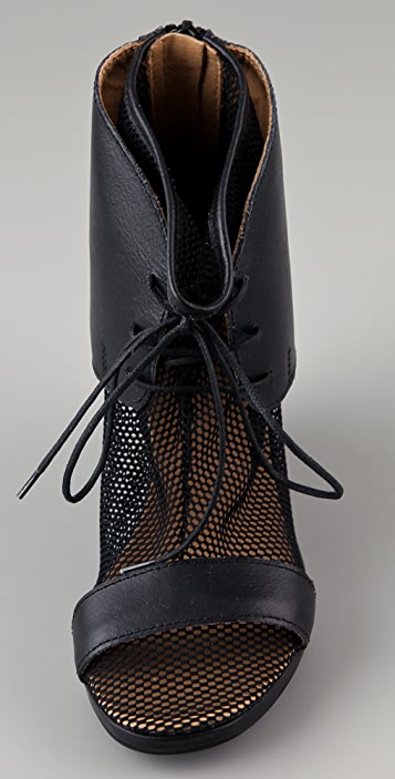 MM6 Netted Sock Wedge Booties
