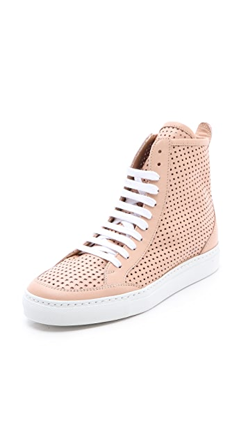 MM6 Perforated High Top Sneakers