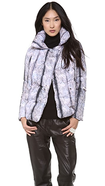 MM6 Silver Fox Puffer Coat