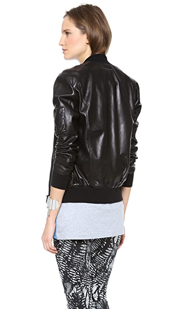 MM6 Leather Bomber Jacket
