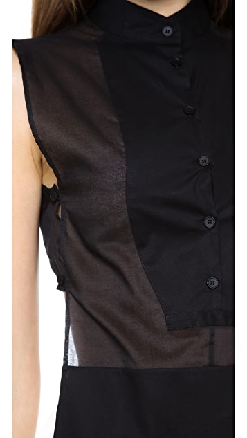 MM6 Sleeveless Buttondown Top