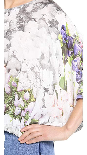MM6 Flower Print Crop Drawstring Top