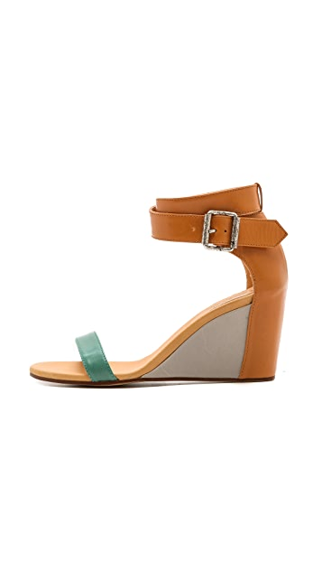 MM6 Colorblock Wedge Sandals