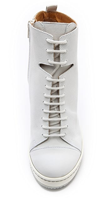 MM6 Perforated Wedge Booties