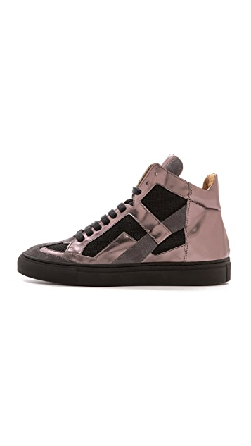 MM6 Mirrored High Top Sneakers