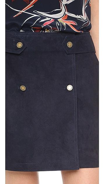 Maiyet Suede Wrap Miniskirt