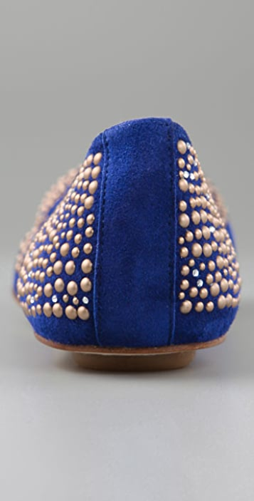 Maloles Georges Suede Ballet Flats with Gold Studs