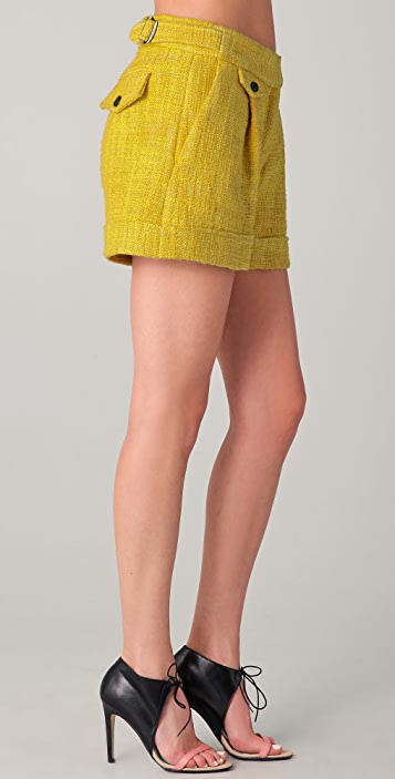 Michael Angel Buckled Tweed Shorts
