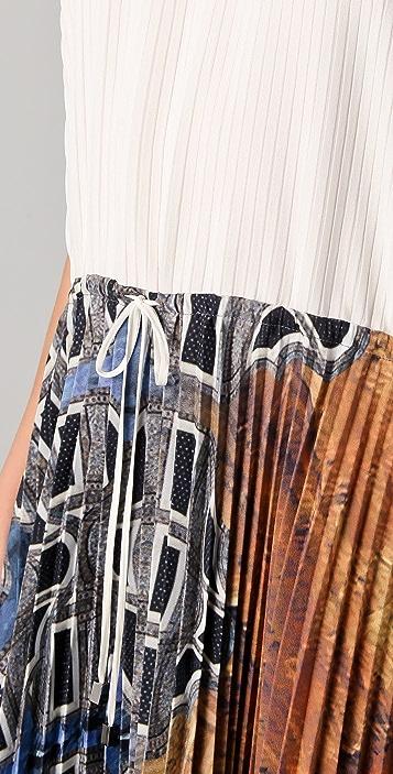 Michael Angel Drawstring Accordion Midi Dress