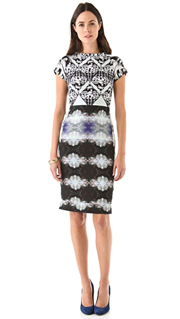 Michael Angel Tube Neck Print Dress