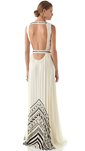 Mara Hoffman Beaded Silk Chiffon Gown