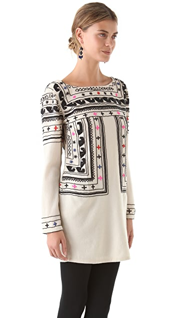 Mara Hoffman Beaded Fitted Wool Dress