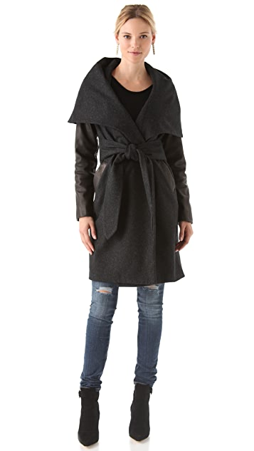 Mara Hoffman Leather Sleeve Shawl Coat