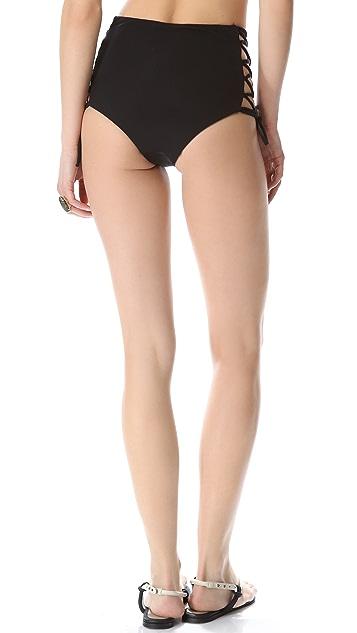 Mara Hoffman High Waisted Lace Up Bikini Bottoms