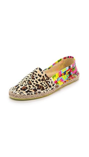 Mara Hoffman Jaguar 印花编织平底帆布鞋