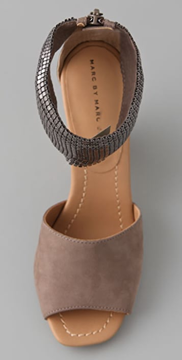 Marc by Marc Jacobs Chain Mail Suede Sandals