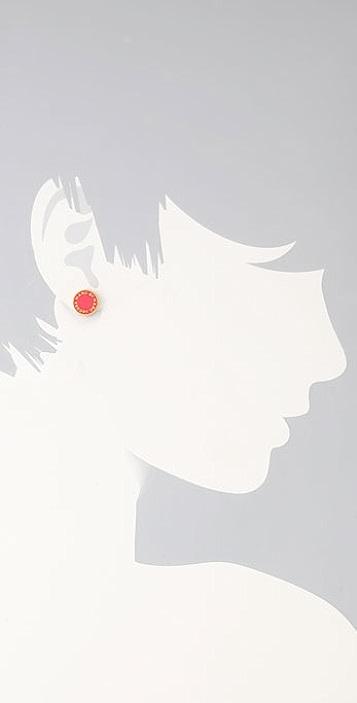 Marc by Marc Jacobs Enamel Discs Logo Stud Earrings