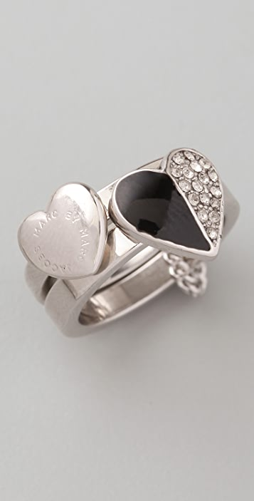 Marc by Marc Jacobs Colorblock Hearts Harem Ring Set