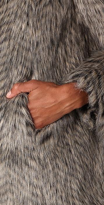Marc by Marc Jacobs Rickie Raccoon Faux Fur Coat